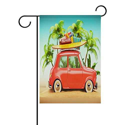 ALAZA Double Sides Summer Garden Flag, Retro Car With Surfbo
