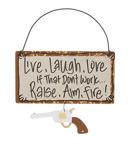 Just Too Cute Funny Rustic Metal Welcome Sign (Raise, Aim, Fire)