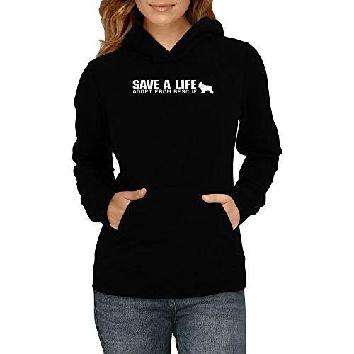 Idakoos Save a Life, Adopt from Rescue English Cocker Spaniel Women Hoodie L Black