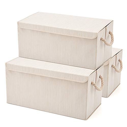 EZOWare Extra Large [3-Pack] Linen Fabric Foldable Storage Cubes Bin Box Containers with Lid and Handles - Light for Home, Office, Nursery, Closet, Bedroom, Living Room (24x12x12inch)