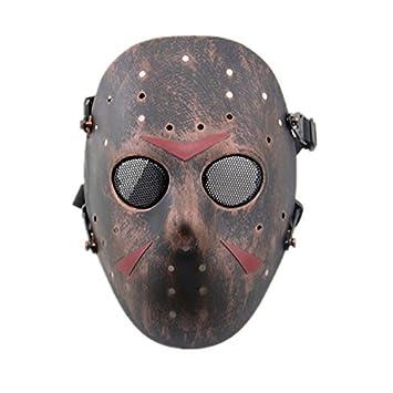 Máscara de Jason de Haoyk CS Games, máscara de malla, metal y cobre con