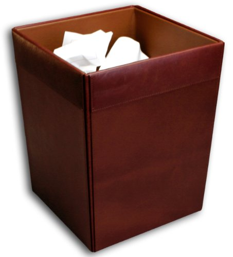 Dacasso Mocha Leather Waste Basket by Dacasso