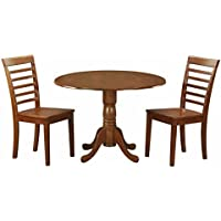 East West Furniture Dublin 3 Piece Drop Leaf Round Dining Table Set with Milan Wooden Seat Chairs