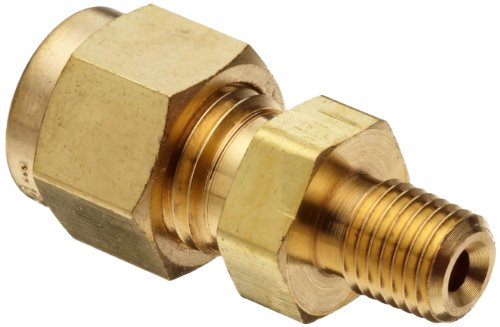 B Brass Compression Tube Fitting, Adapter, 1/2