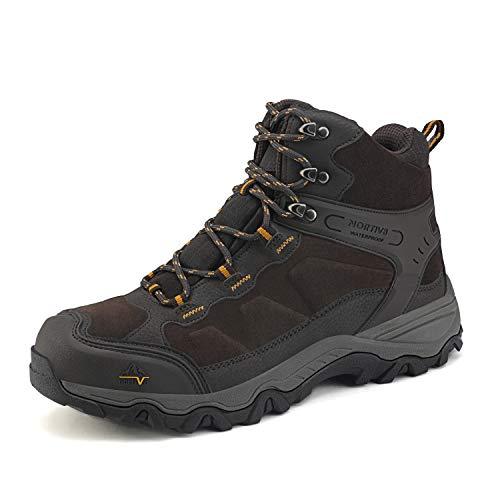 NORTIV 8 Men's Men's Waterproof Hiking Boots Outdoor Lightweight Mid Trekking Backpacking Mountaineering Shoes JS19004M Brown Size 13 M US