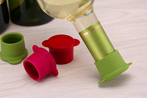 Vitrix Kitchenware Bottle Caps-Set of 5 Reusable and Unbreakable Sealer Covers-Silicone Stoppers to Keep Wine or Beer Fresh for Days with Air Tight Seal, Maroon, Brown, Blue, Yellow, Green by Vitrix Kitchenware (Image #2)