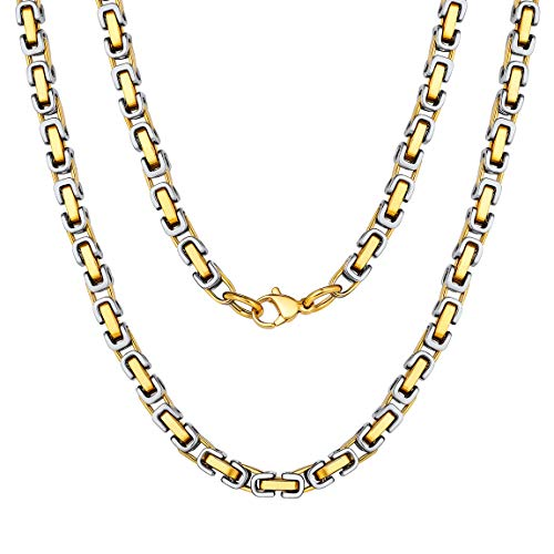 (Stainless Steel Chain Two Tone Gold Byzantine Necklace 26 inch Hip Hop Jewelry Gift)