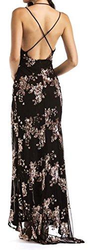 Neck Black Printed Slit Strape Party Cromoncent Womens Dress Spaghetti Summer V qHnvxpw1t