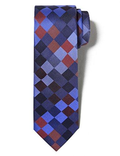 Origin Ties Men's Fashion 100% Silk Handmade Mosaic Chequered 2.5 Skinny Tie Blue