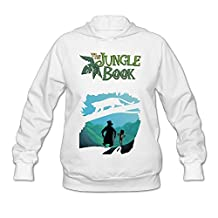 Mooy Women's Design The Jungle Hooded Sweatshirt Size XL White