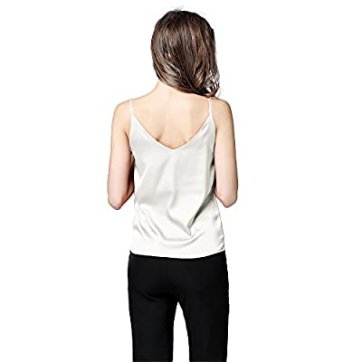 Runbery Basic Women's Silk Tank Top Ladies V-Neck Camisole Silky Loose Sleeveless Blouse Tank Shirt with Soft Satin