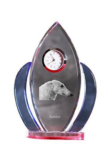 Borzoi Clock - Borzoi, crystal clock, shape of wings with the image of a dog
