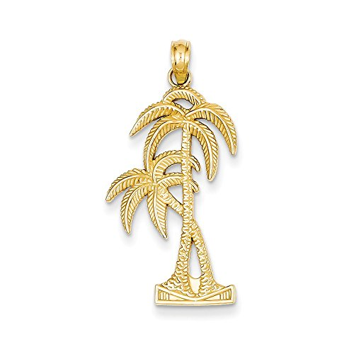 Solid 14k Yellow Gold Polished & Textured Palm Trees Pendant (16mm x - Gold Necklace Palm