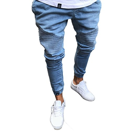Tomblin Men's Ripped Skinny Distressed Destroyed Straight Fit Zipper Jeans With Holes (L=US L, (Mens Skinny Pants)