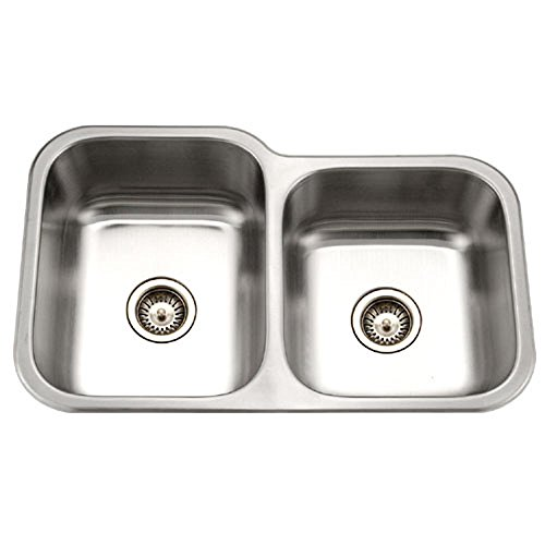 Houzer MEC-3220SR-1 Medallion Classic Series Undermount Stainless Steel 60/40 Double Bowl Kitchen Sink, Small Bowl Right