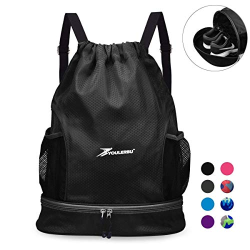 YOULERBU Gym Drawstring Bag,Sports Backpack Shoe Compartment,Swim Bag Wet Dry Compartments for Dive Beach Surf for Women Men black