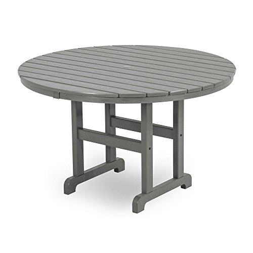 POLYWOOD RT248GY Round Dining Table, 48-Inch, Slate Grey (Seat 4 Polywood)