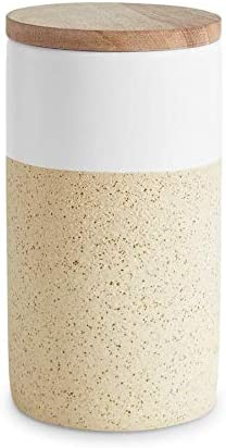 Botes de cer/ámica con tapa de madera Soft Sand Recipientes de 400 ml a 1 litro de capacidad Botes de almacenamiento Altura de 9,3 a 18,3 cm Tapa herm/ética de madera de caucho