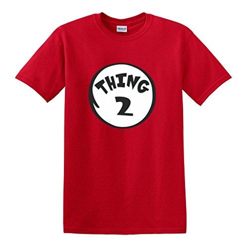OCPrintShirts Youth Girl Boy Unisex 100% Cotton Thing 2 Dr Seuss Halloween T-Shirt M Red (Girls Halloween Shirts)