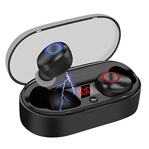 Wireless Headphones 16H Playtime with Volume Control, Bluetooth 5.0 Headphones Auto-Off with Charging Case, HEMRLY Stereo Sound Wireless Earbuds Noise Cancelling with Microphones for Sports – Black