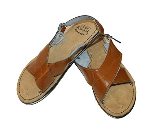MEXICAN SANDALS Mens Genuine Leather Quality Handmade Sandals Tan P9FVXr78Hl