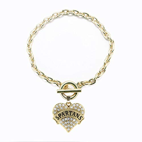 Inspired Silver - Spartans Toggle Charm Bracelet for Women - Gold Pave Heart Charm Toggle Bracelet with Cubic Zirconia Jewelry