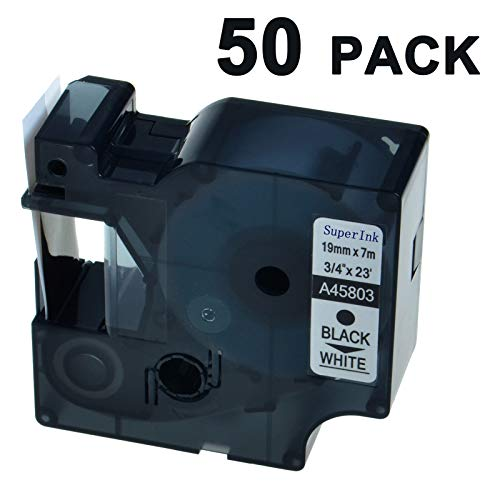 - SuperInk 50 Pack Compatible for DYMO D1 45803 Black on White Label Tape LabelManager 300 350 350D 360D 400 420P 450 450D 500TS LabelPoint 300 350 Printer (19mm 7m)