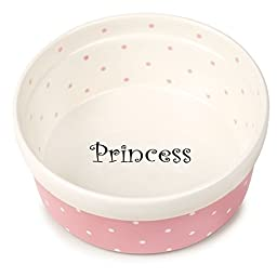 Pet Studio Polka Dot Dishes — Whimsical Ceramic Dishes for Dog and Cat Food - Pink/Princess, 5\