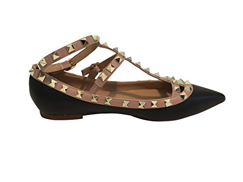 Studs Pointed Trim Nude Kaitlyn Leather Studded Strappy Matte Gold Ballerina Pan Black Caged Flats Toe S4Bq6x75