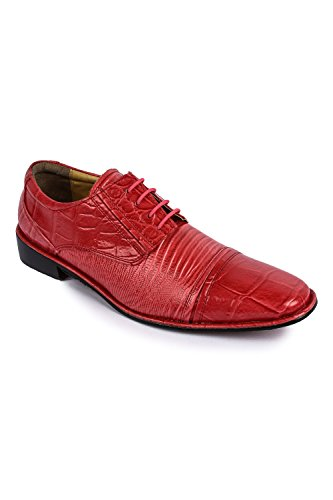(Liberty Exotic Men's Crocodile/Lizard Print Oxford Hand-Picked PU & Genuine Leather Stitched Lace up Dress Shoes Exclusive Collection)