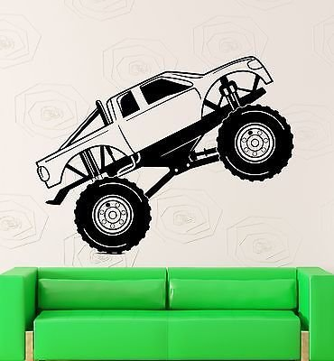 Wall Sticker Vinyl Decal Monster Truck Race Car Garage Decor VS2116 - Monster Truck Wall Border