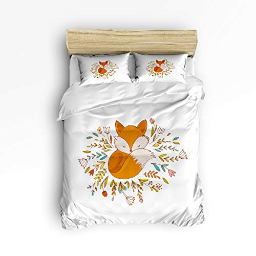 Full Bed Set Poster Size (3 Piece Bedding Set - 1 Soft Down Comforter Quilt Bedding Cover Matching 2 Pillow Shams with Zipper Closure, Le Petit Prince Fox Poster Surround by Flowers Bedding Duvet Cover Set Full Size)
