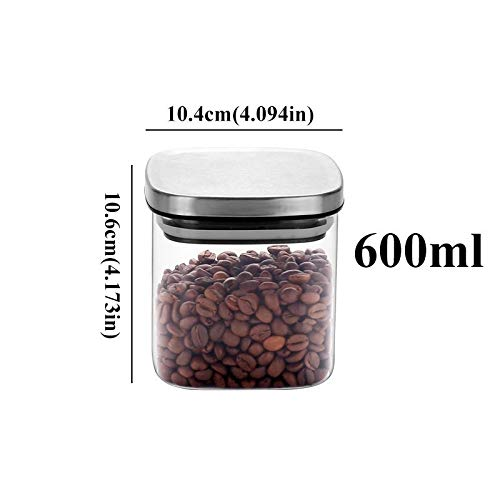 - Jar Kitchen - Square Glass Jars with Stainless Steel Lid for Spices Bulk Products Tea Coffee Container Set Cans Storage Box Canister