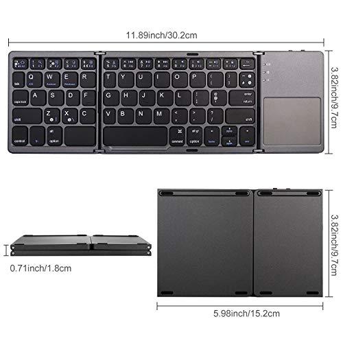 MOJO-HOME Bluetooth Wireless Folding Keyboard with Touchpad (Black)