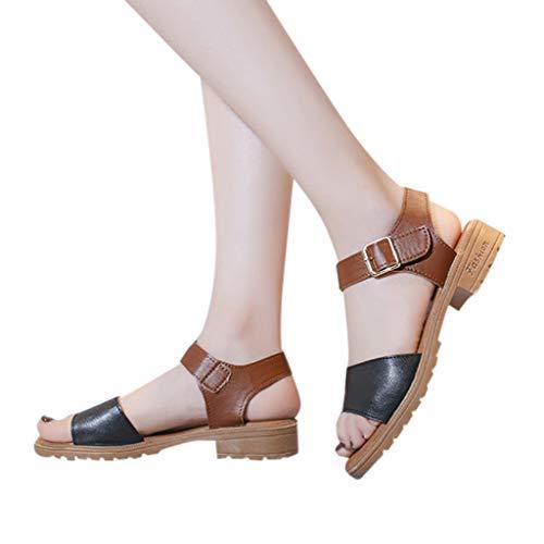 WEISUN Flats Sandals Women Fashion Casual Mixed Colors Open Toe Sandals Square Heels Beach Shoes Black