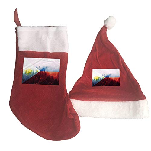 Zeajant Philippines Flag with Forest Santa Hat & Christmas Stocking Holiday Christmas Decorations Party Accessory -
