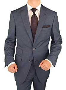 B008O5M0GU Bianco B Men's French Blue Two Button Ticket Pocket Suit (44 Regular US)