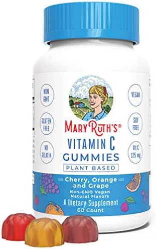 Vegan Vitamin C Gummies Chewable (Plant-Based) by MaryRuth's Antioxidant Non-GMO Organic Ingredients Paleo Friendly Gluten Free Metabolism for Men, Women & Kids 125 mg of Vitamin C per gummy 60 Count