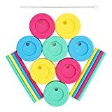 Xelparuc Regular Mouth Mason Jars Straw Lids + Silicone Straws + Cleaning Brush, Plastic Lids with Straw Hole, Great for Toddler, Kids & Adult Drinks, Reusable, No Rust, BPA Free, 8 Pack
