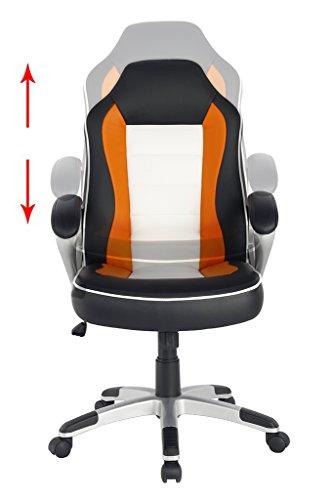 NKV Mid Back Gaming Chair Office Desk Chair Computer Game Chair Swivel Task Chair Black White Orange