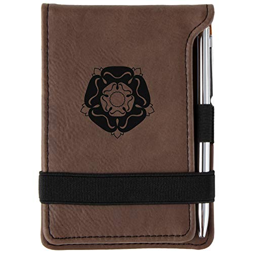 Tudor Rose Engraved Leather Personalized Mini Notepad With Pen
