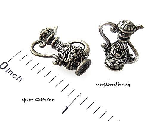 Pendant Jewelry Making 2 Dark Patina Silver 3D Wine Carafe Vessel Pitcher Beads Drop Renaissance Charms