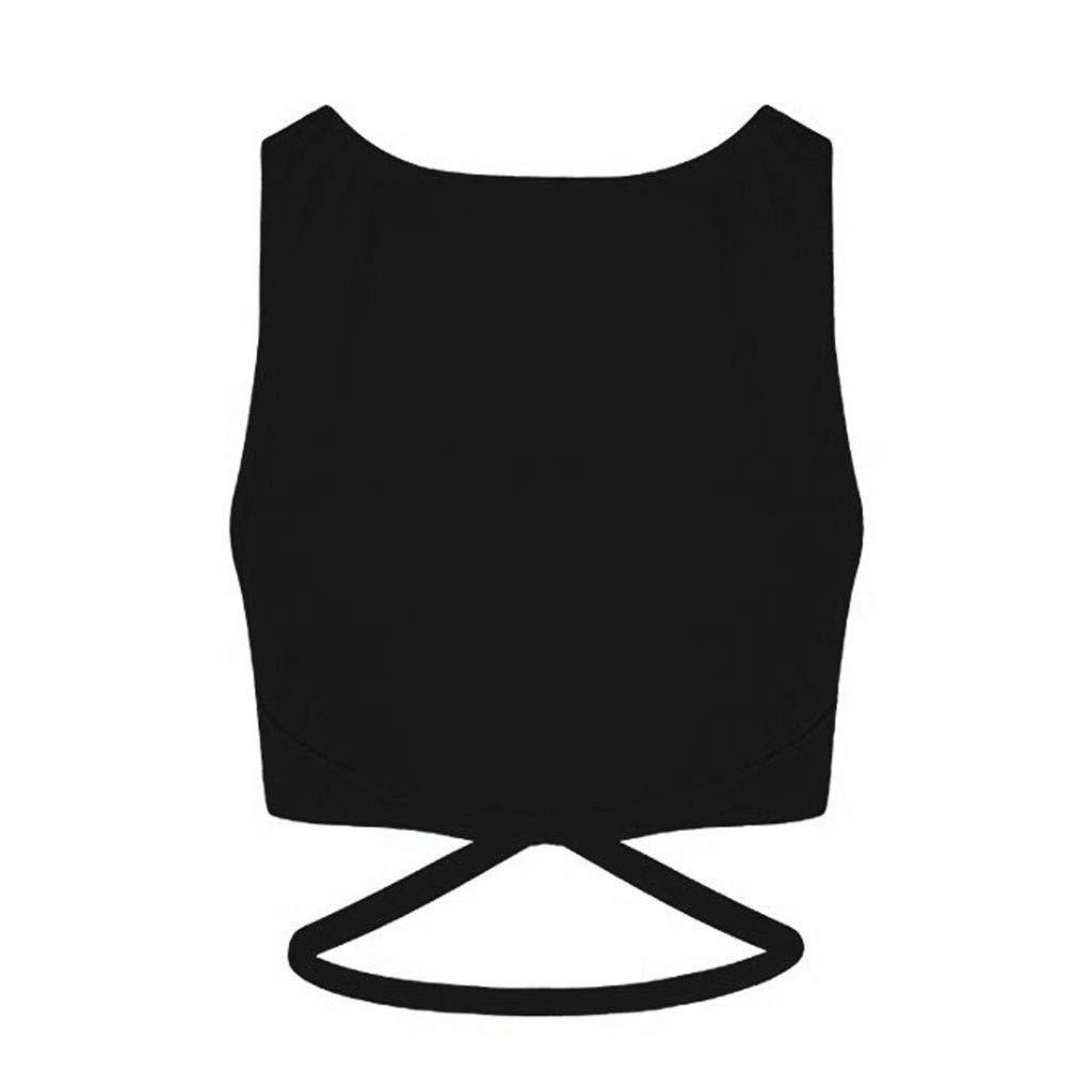 Beikoard Chaleco Deportivo Mujer,Ropa de Mujer Sin Mangas Cuello Redondo Cruzar Vendas Camisetas Deporte Mujer Fitness,Color Sólido Párrafo Corto Slim Fit ...