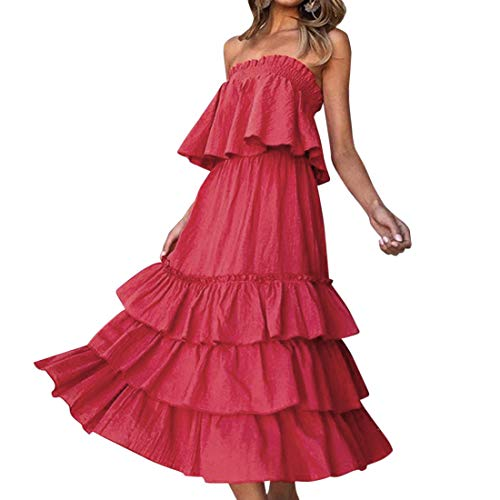 RUUHEE Women Ruffle Off Shoulder Maxi Skirt Set Solid Color Crop Top 2 Piece Outfits (S(US Size -