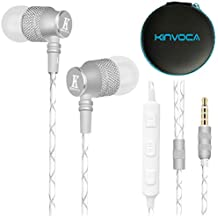 KINVOCA Wired Metal In Ear Earbuds Headphones with Microphone Volume and Case, Bass Stereo Noise Isolating Inear Earphones Ear Buds for Cell Phones, Aluminum Alloy, Carabiner, 3.5mm Jack, Silver