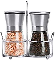 Set of Salt and Pepper Grinder 2 pack Salt and Pepper Shakers with Stand Stainless Steel Spice Grinder Mill for...
