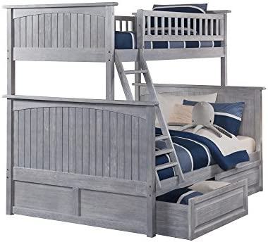 Atlantic Furniture Nantucket Bunk Bed with 2 Raised Panel Bed Drawers, Twin Full, Driftwood