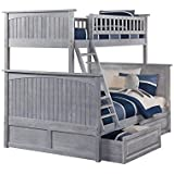 Atlantic Furniture Nantucket Bunk Bed Twin over Full with Raised Panel Drawers, Twin/Full, Driftwood Grey