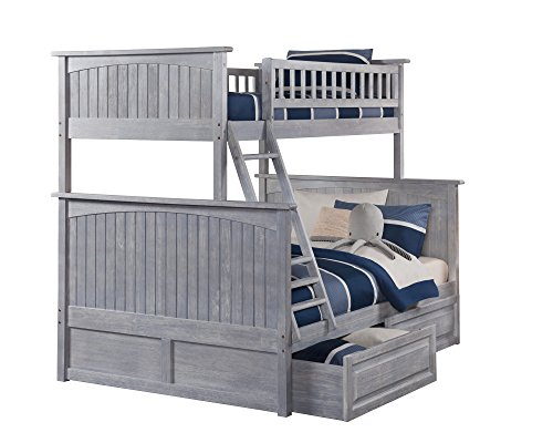Atlantic Furniture AB59228 Nantucket Bunk Bed with 2 Raised Panel Bed Drawers, Twin/Full, Driftwood