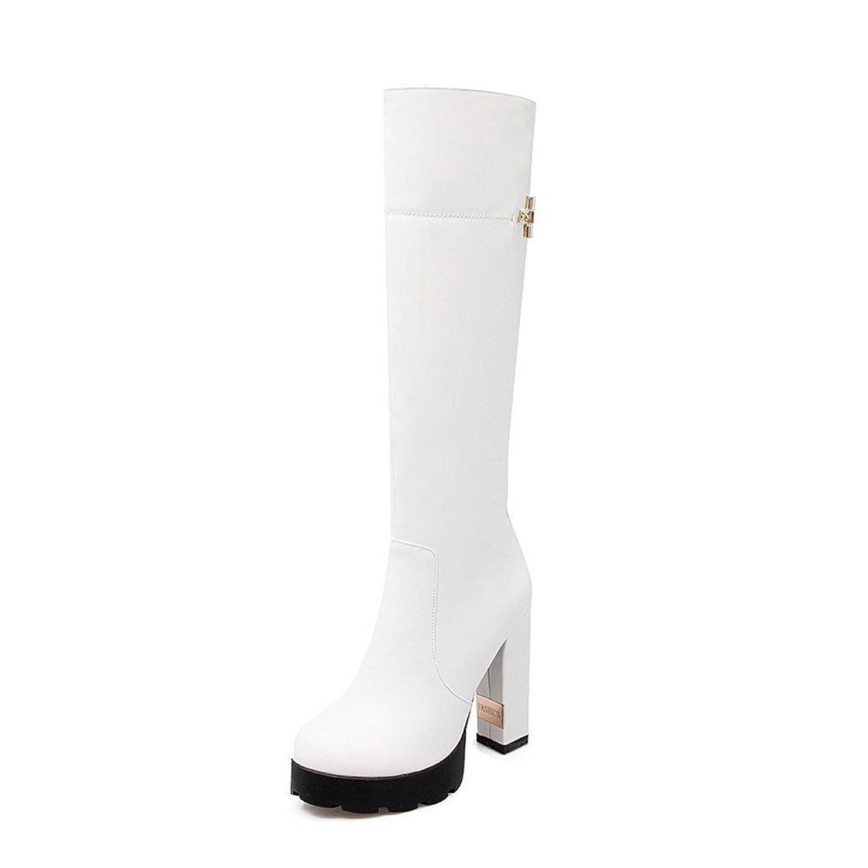 AmagooTer Women's Zipper Round Closed Toe High-Heels PU High-top Boots